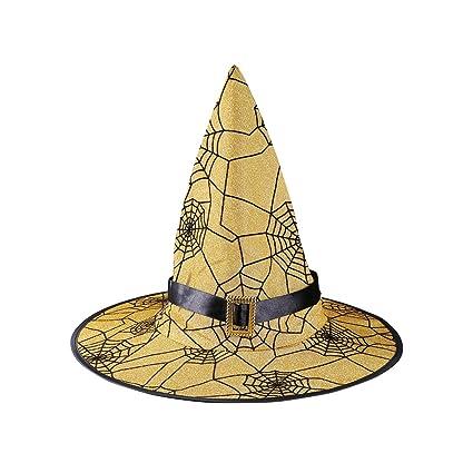 Amosfun Sombrero de mago Sombrero de tela de araña Patrón Sombrero de bruja  con hebilla Sombrero 116a8be7518