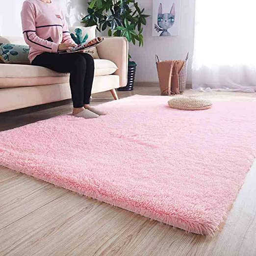 Thick Blush Pink Shaggy Rugs Soft Millennial Non Shed Geometric Living Room Rug