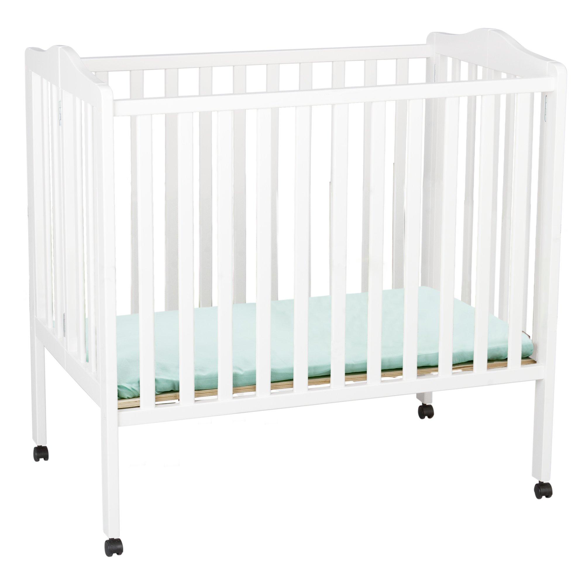 Delta Children Folding Portable Mini Crib with Mattress, White by Delta Children (Image #1)