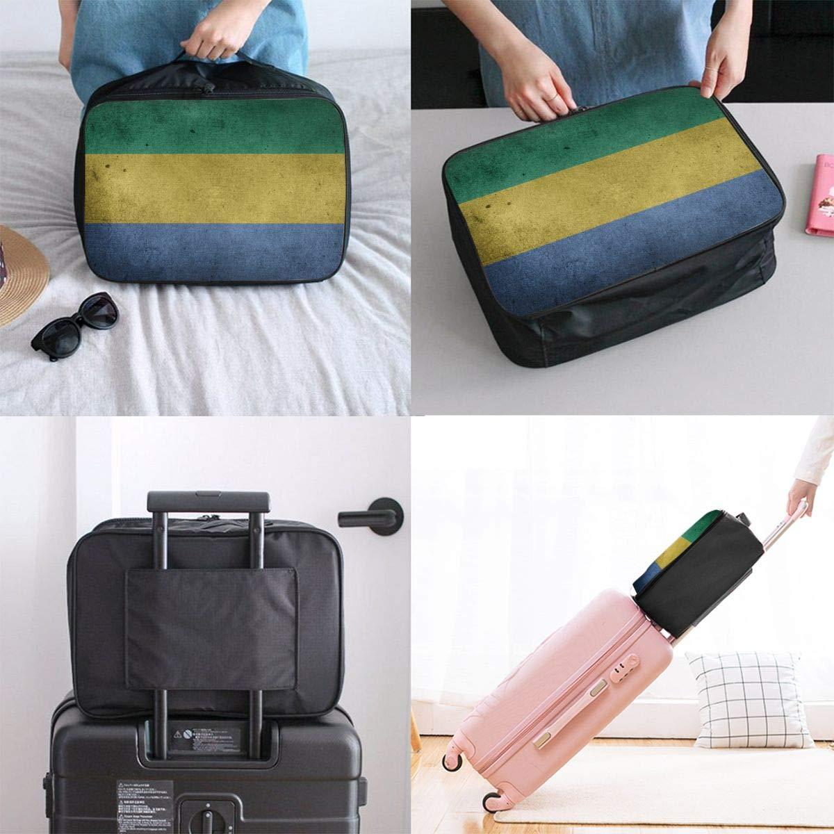 ADGAI Gabonese Flag Canvas Travel Weekender Bag,Fashion Custom Lightweight Large Capacity Portable Luggage Bag,Suitcase Trolley Bag