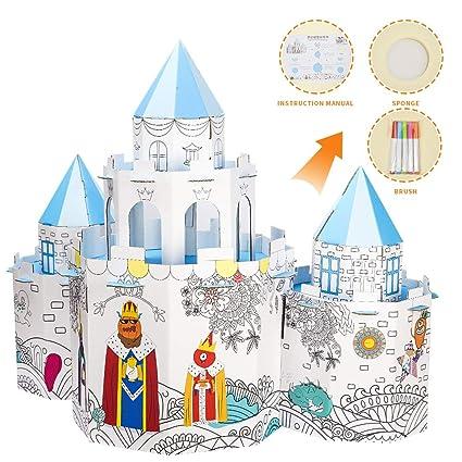 Amazon.com: Youwo Cardboard Castle Coloring Kit DIY ...