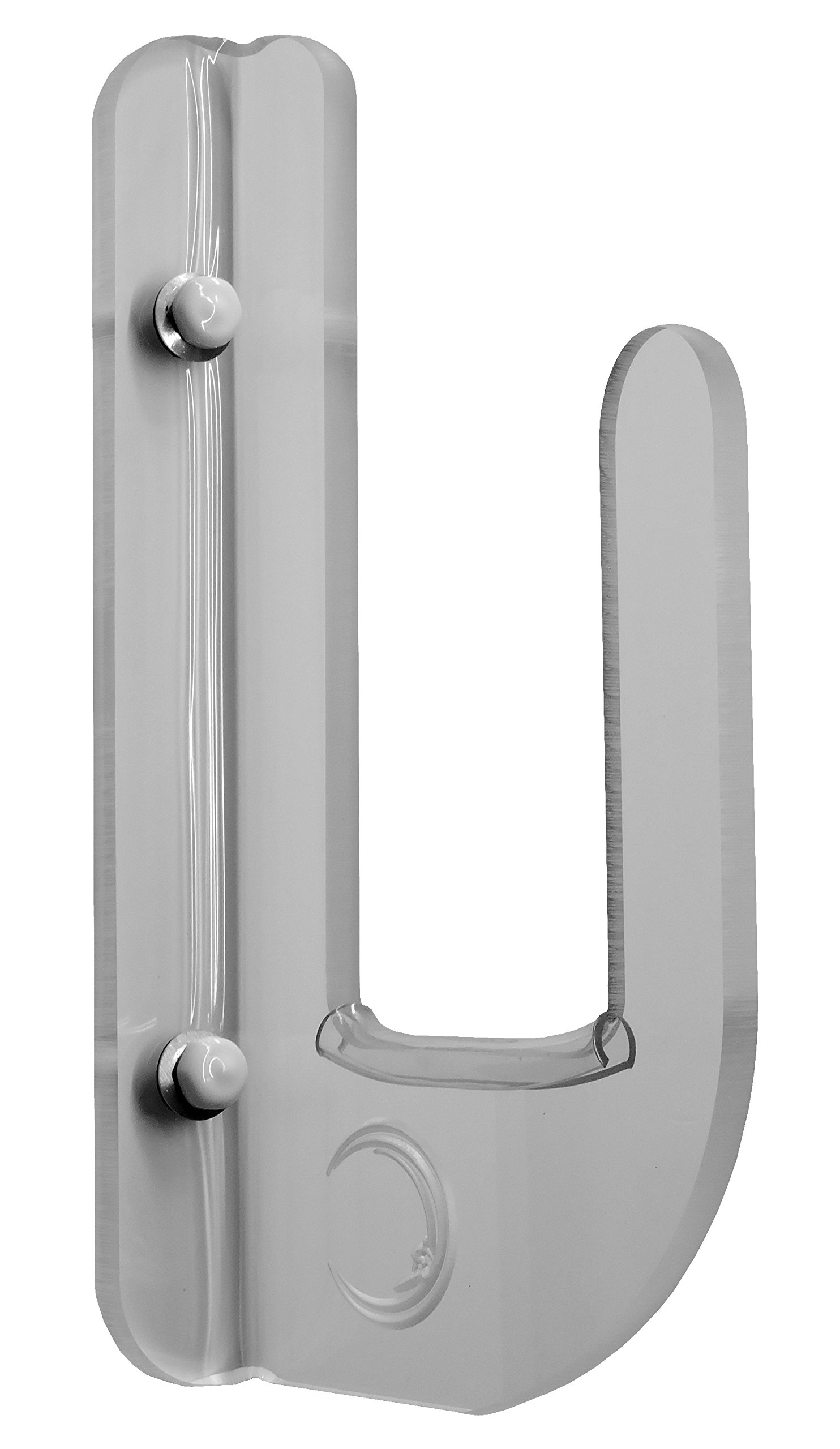 OnTheWallRacks.com Flush To Wall Clear Acrylic Horizontal Wall Mounted Boardrack! For Boards Without Fins Or Fins Facing Out. This rack has a 3'' gap and holds the board close to wall trophy style.