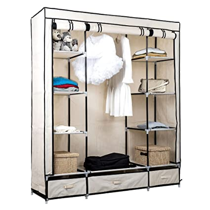 TopHomer Canvas Wardrobe Closet,Clothes Cupboard Storage,Shelf Shelves  Organizer With Hanging Rails Rack