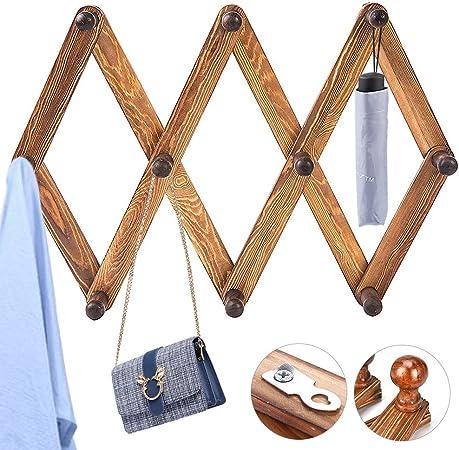 si 2x10 Peg Wooden hanger Expandable Wooden Coat Rack Hat Closet Hook Expanding Fold