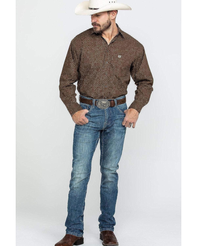 Panhandle Mens Peached Poplin Print Shirt