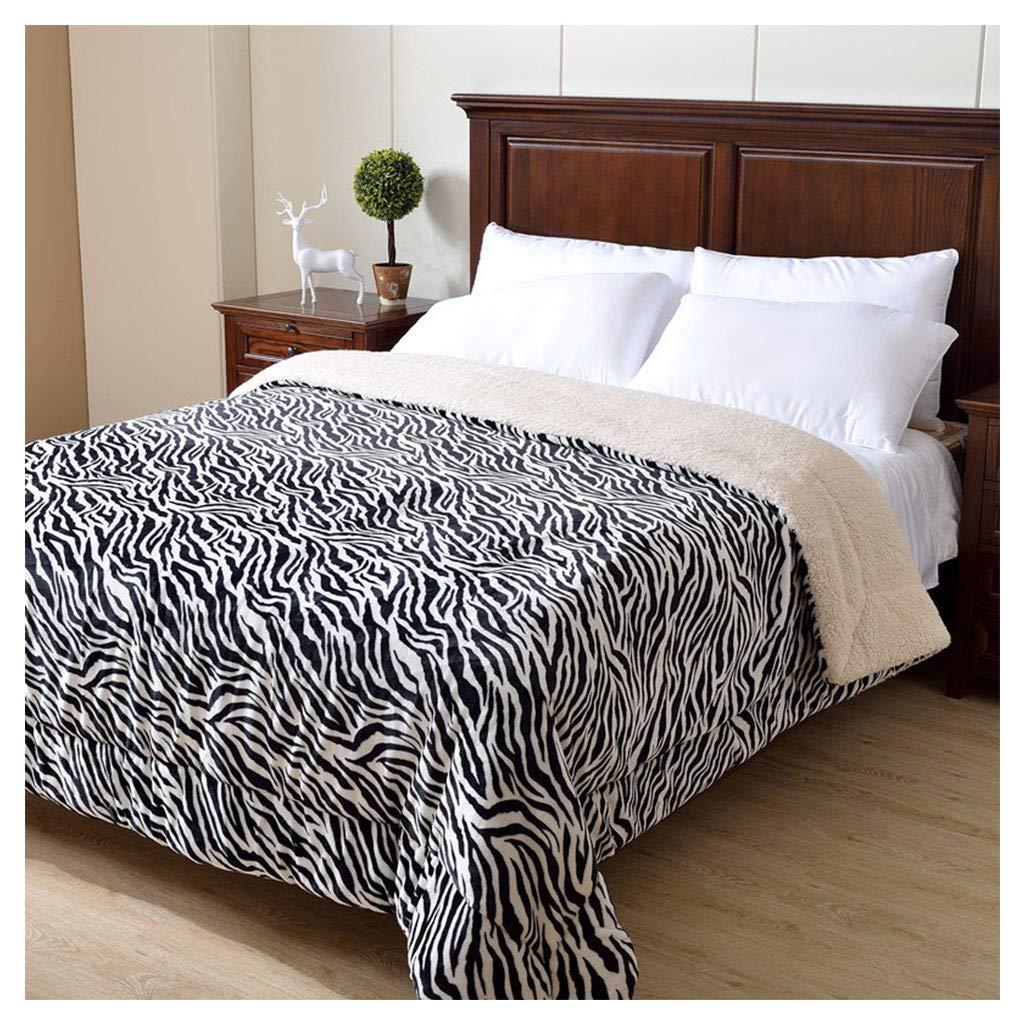 毛布をスロースーパーソフトふわふわコージー厚い暖かい黒い白ゼブラストライプパターンのソファベッドの毛布 (サイズ さいず : 180*220cm) B07HJ355TR  180*220cm