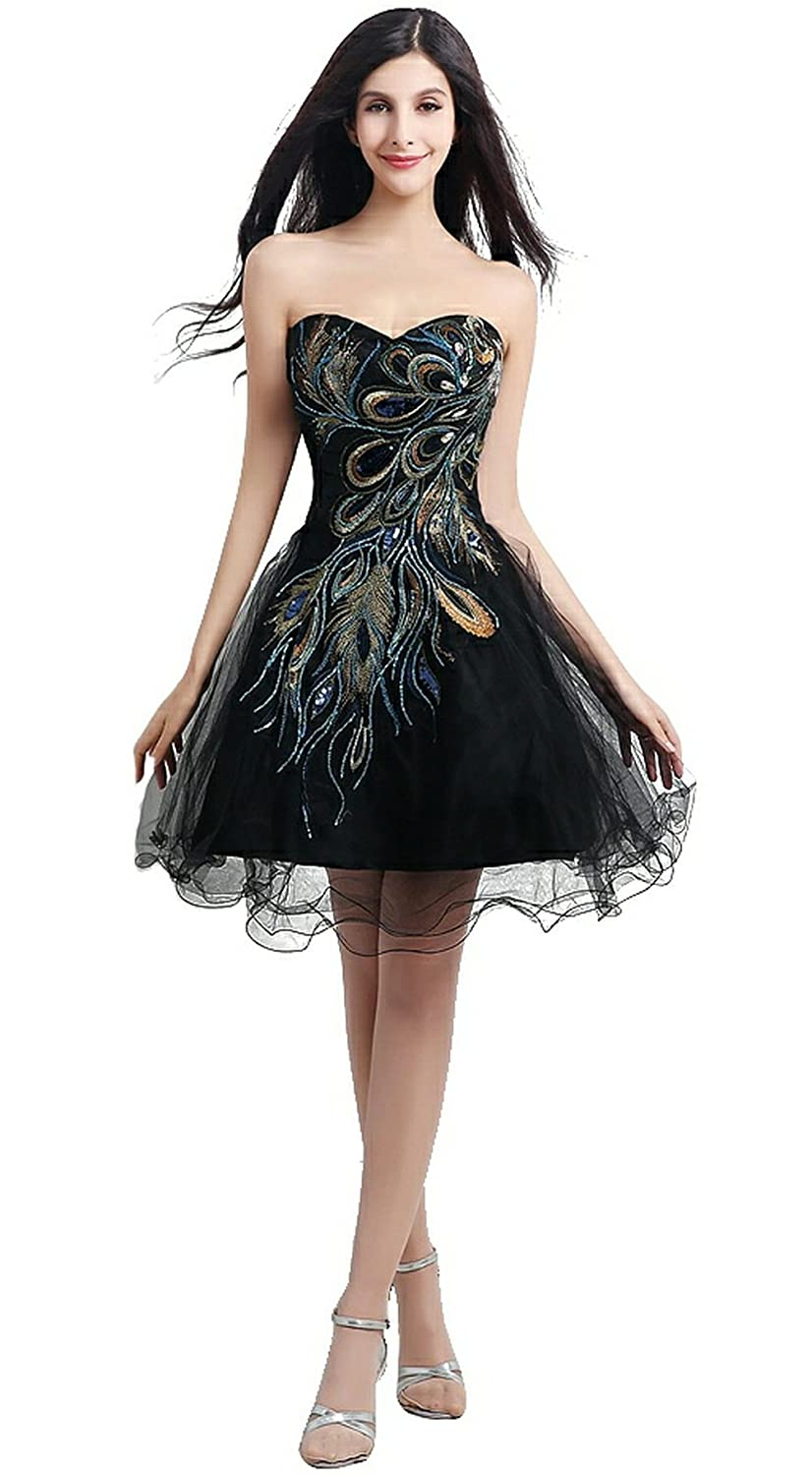 Lava-ring Women's Peacock Embroidery Sweetheart Lace-up Tulle Short Prom Dress