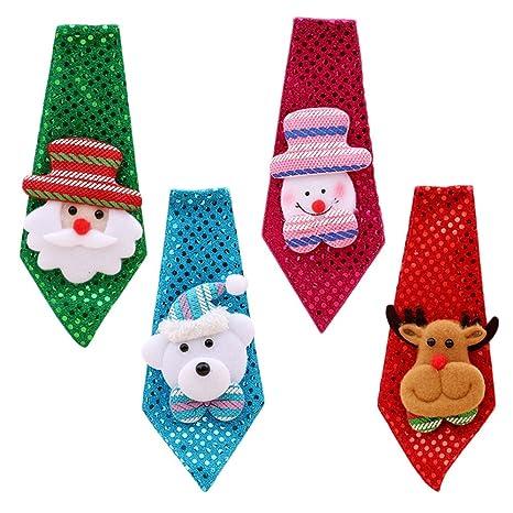 Immagini Natalizie Per Bambini.4 Pezzi Carino Natale Santa Cravatta Con Decorazioni Natalizie Per
