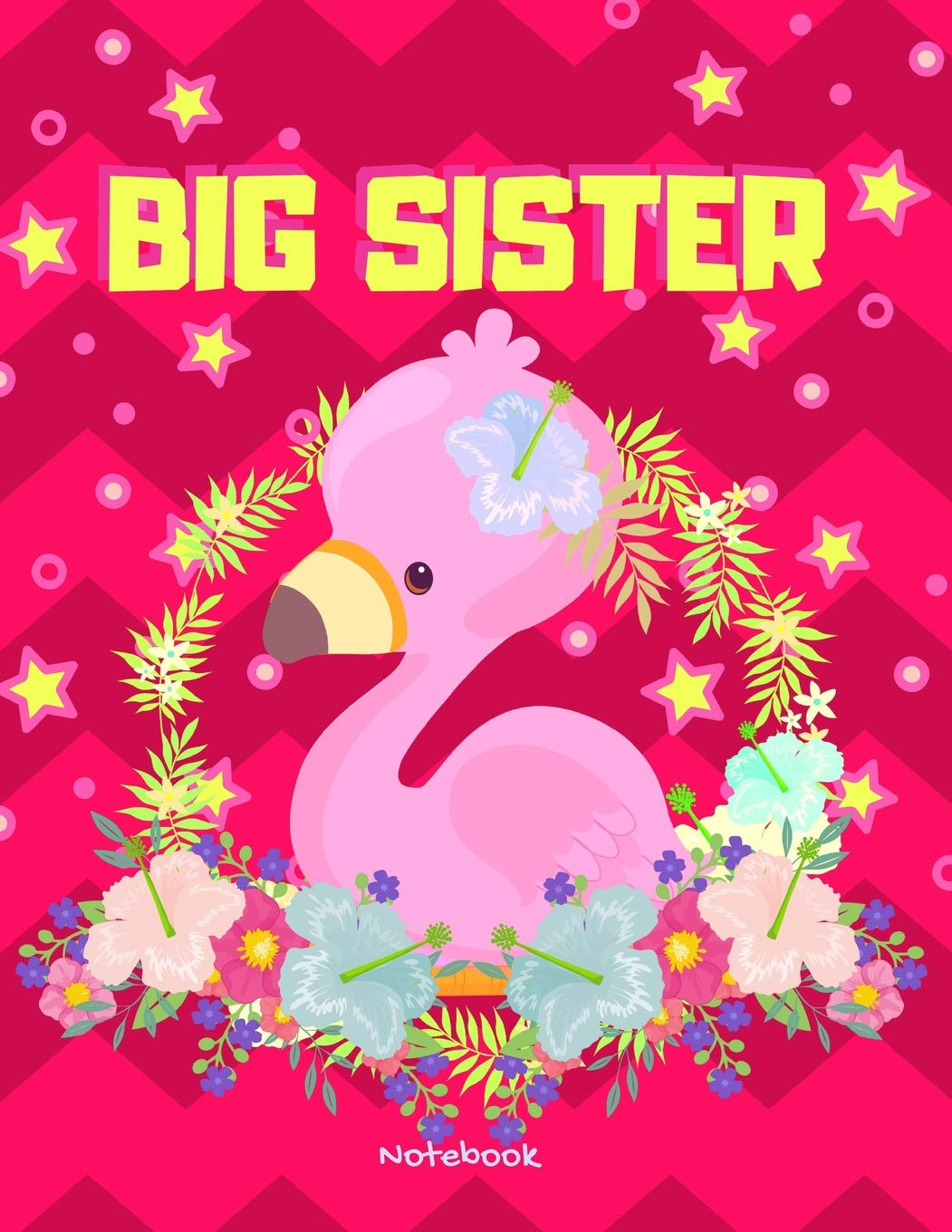 Big Sister Notebook: Personalized Pink Flamingo Stars Draw ...