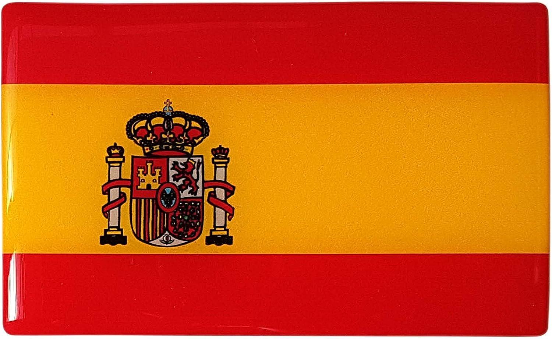 Placa con pegatina de la bandera de España, en 3D, de gel de resina, curvada, 1 unidad de 104 x 64 mm: Amazon.es: Coche y moto