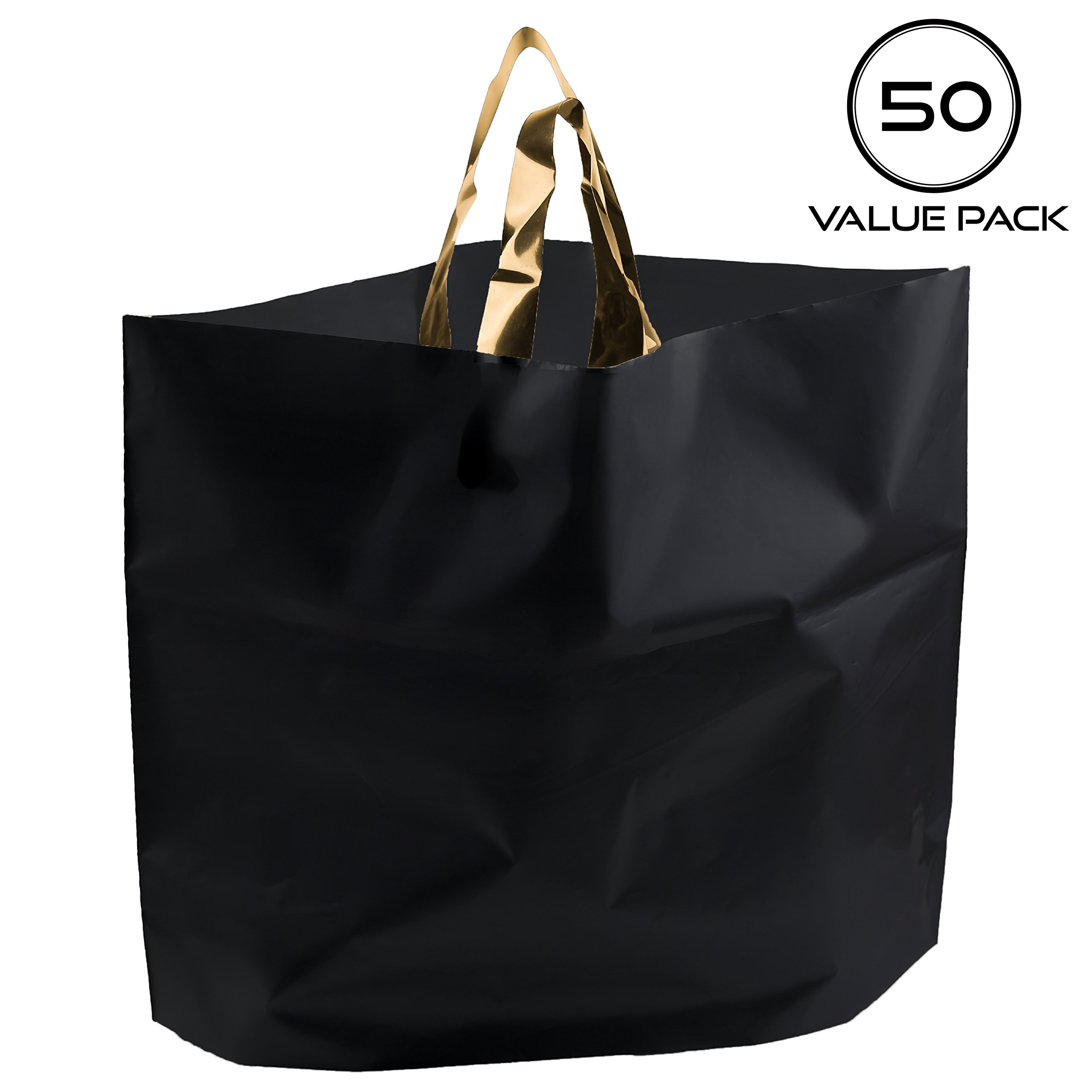 14''x18'' Large Boutique Merchandise Bags 3 Mil Extra Thick, 50 Frosted Plastic Gift Shopping Bags with Handles Bottom Gusset for Retail Clothing Grocery Store Lularoe
