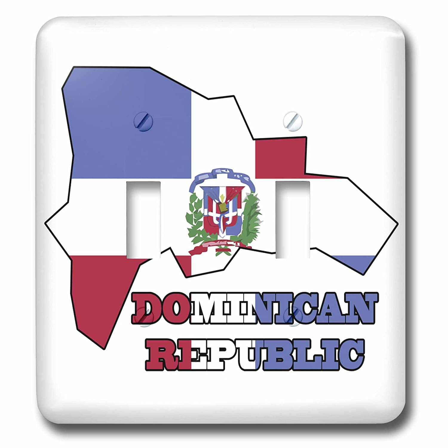 3dRose lsp_58772_2 The flag of the Dominican Republic in the map outline and words Dominican Republic Double Toggle Switch