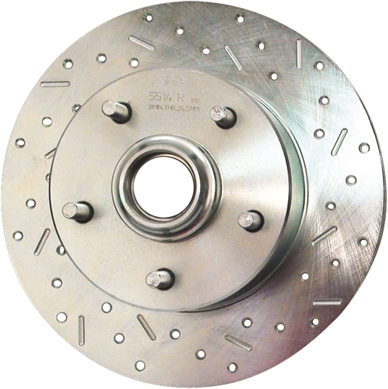 SSBC 33064AA3R Drilled Slotted Plated Rear Passenger Side Rotor for 1980-81 200SX with Rear Disc