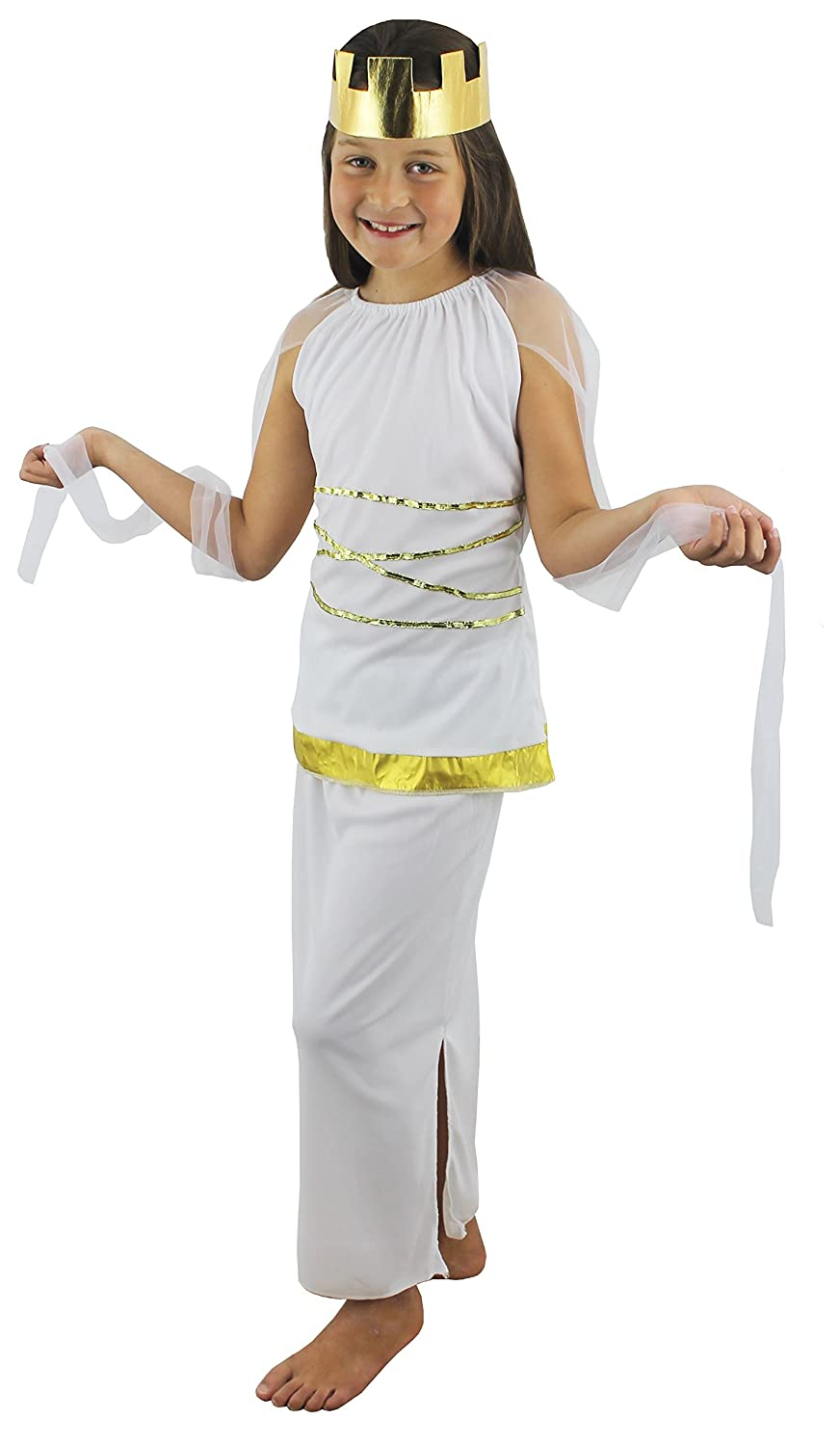 childs greek girls goddess hera fancy dress costume 3 sizes s m l