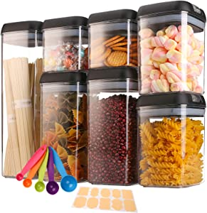 Airtight Food Storage Containers with Lids, 7 Pieces Dry Food Storage Container Set for Kitchen & Pantry Organization and Storage, Leak-proof & BPA Free, Dishwasher Safe, with 10 Labels and Spoon Set