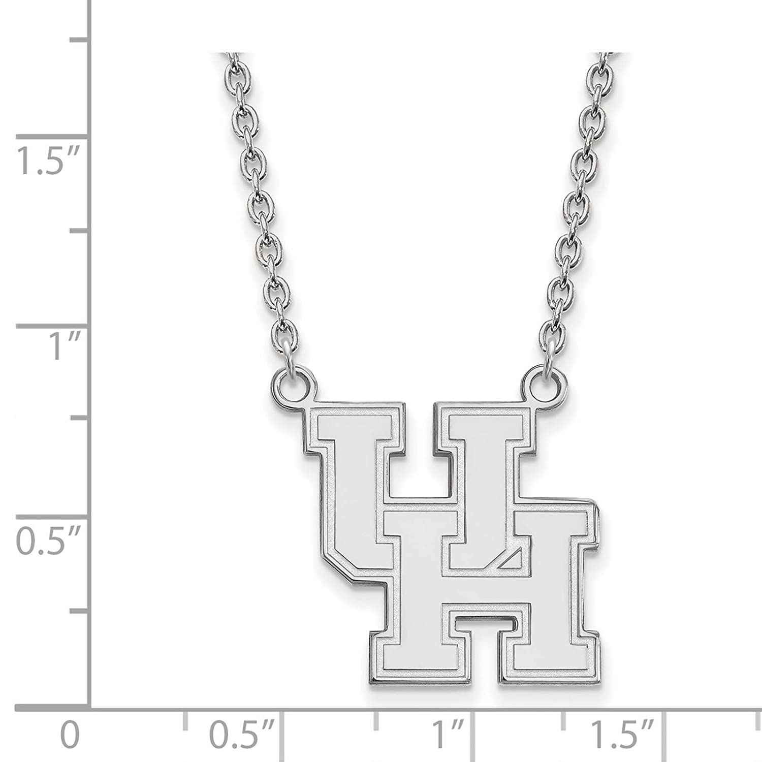 925 Sterling Silver Rhodium-plated Laser-cut University of Houston Large Pendant w//Necklace 18
