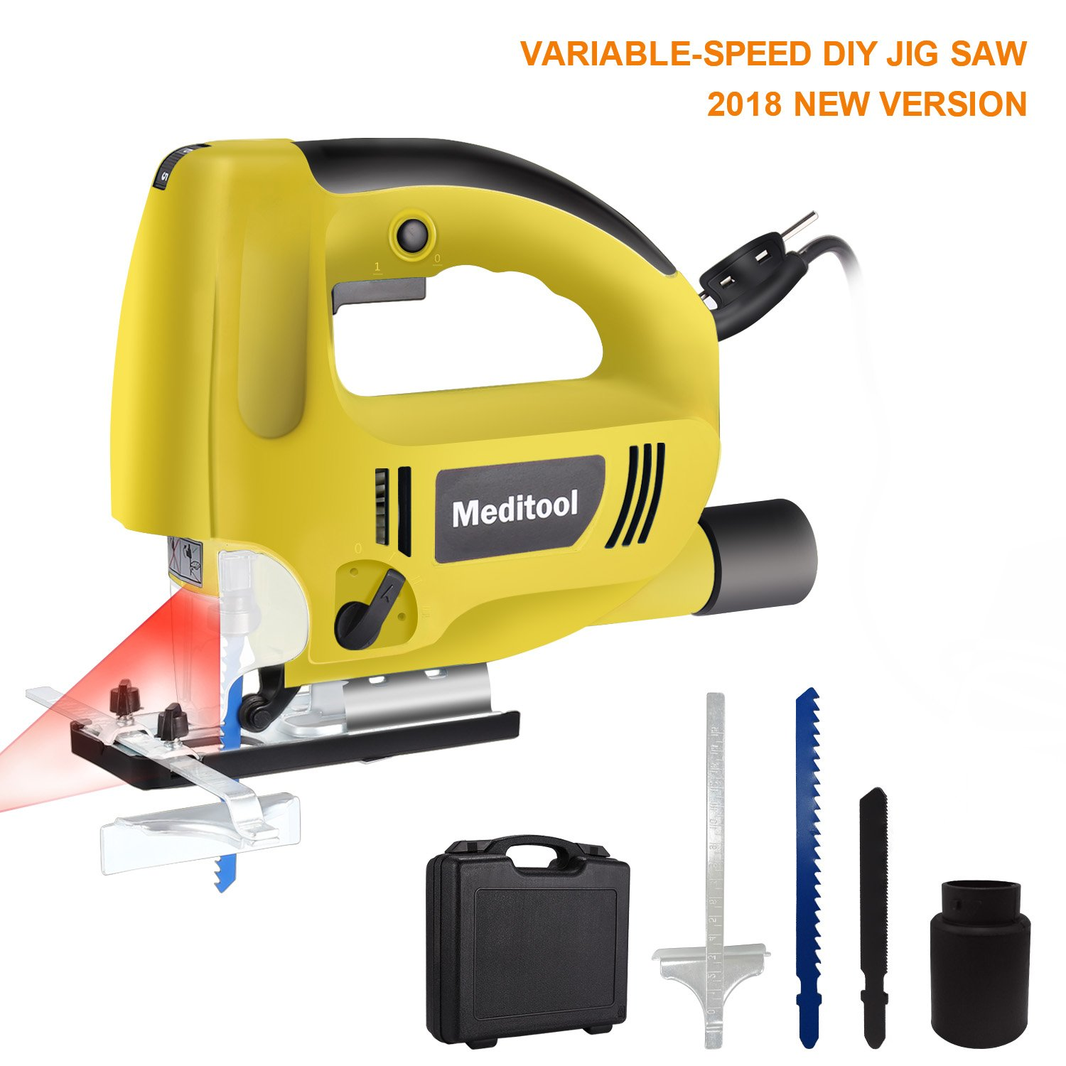 Meditool Top-handle Jig Saw Kit, Variable Speed Electric Saw with 5.9FT Cord, Built-in Laser & Led Light, 45-Degree Max Mitre Angle Adjustable, Dust Extraction Connector, Parallel Guide, Two Blades
