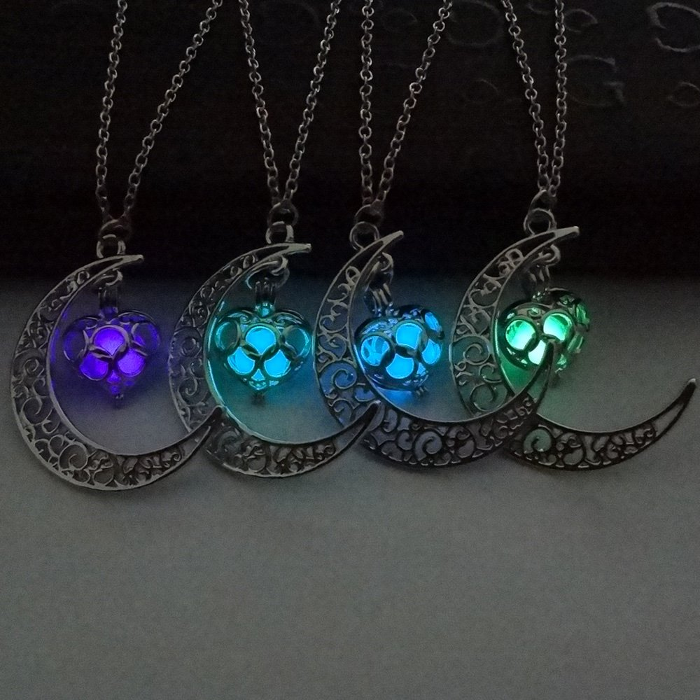 4 Colors Luminous Series Moon Love Heart Pendant Necklace Fluorescent Necklace, Glow in the Dark Necklace, Valentine's Day Gift by Fineder