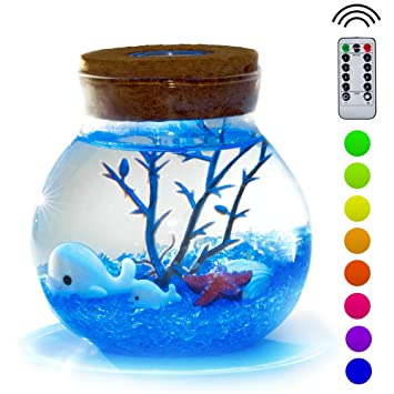 Proloso Wireless Micro Landscape Bottle Lights Aquarium Kit Creative Stylish Romantic Diy Sensory Toys And Decoration Dolphin Series