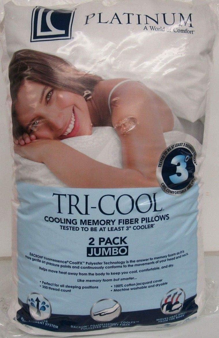 "2 Pack LC Platinum Tri-Cool Cooling Memory Fiber Pillows Jumbo 20 x 28/"""