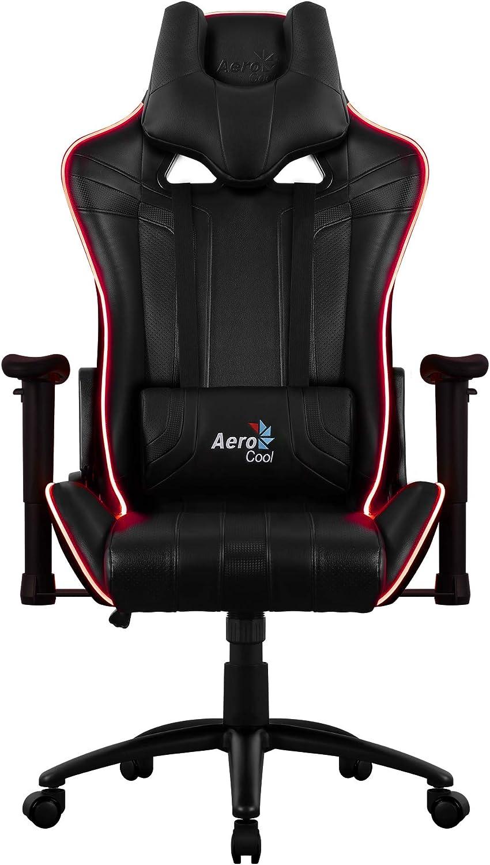 Aerocool AC120 - Silla Gaming Profesional (iluminación LED RGB, 4 Efectos configurables, Tira óptica, Altura Ajustable, Respaldo reclinable 180º, Incluye reposacabezas y Almohada Lumbar), Color Negro