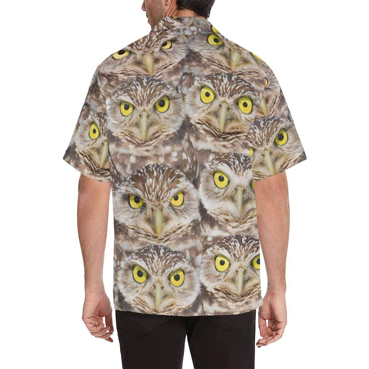InterestPrint Mens Casual Loose Fit Burrowing Owls Group Portrait Shirt Short Sleeve