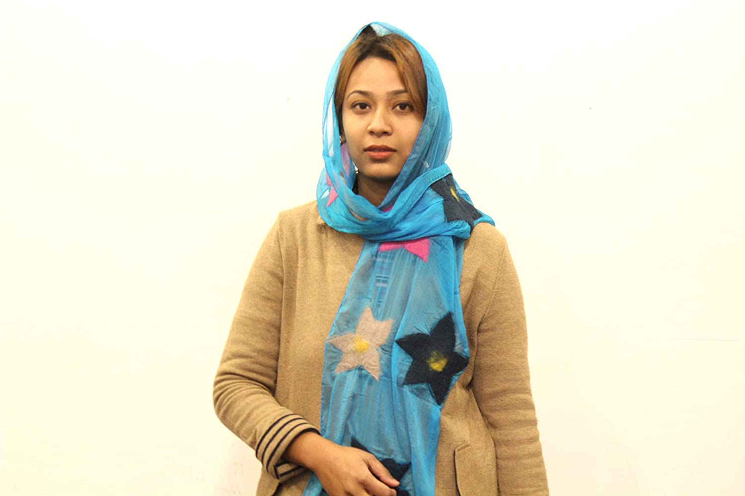 Handmade Unique Scarves From Nepal Woollyfelt Silk Felted Scarf-Stay warm and cozy with this beautiful Shawal-Winter Shawal-Blue color Scarf