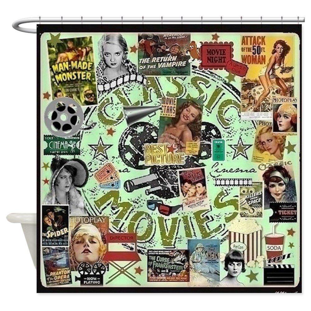 CafePress - Movie Night Shower Curtain - Decorative Fabric Shower Curtain (69''x70'')