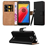 Moto C Case, Leather Wallet Book Card Case Cover Pouch For Motorola Moto C & Lenovo Moto C + Screen Protector & Polishing Cloth + Touch Stylus Pen (Black)