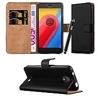Moto C Case, Leather Wallet Book Card Case Cover Pouch For Motorola Moto C & Lenovo Moto C + Screen Protector & Polishing Cloth + Touch Stylus Pen (Black)