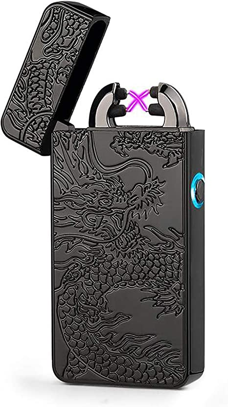 Cool Electric Lighter With Dragon totem Multicolor USB Rechargeable Windproof Lighter Great Gifts for Men Double Arcs Electronic Lighter Box