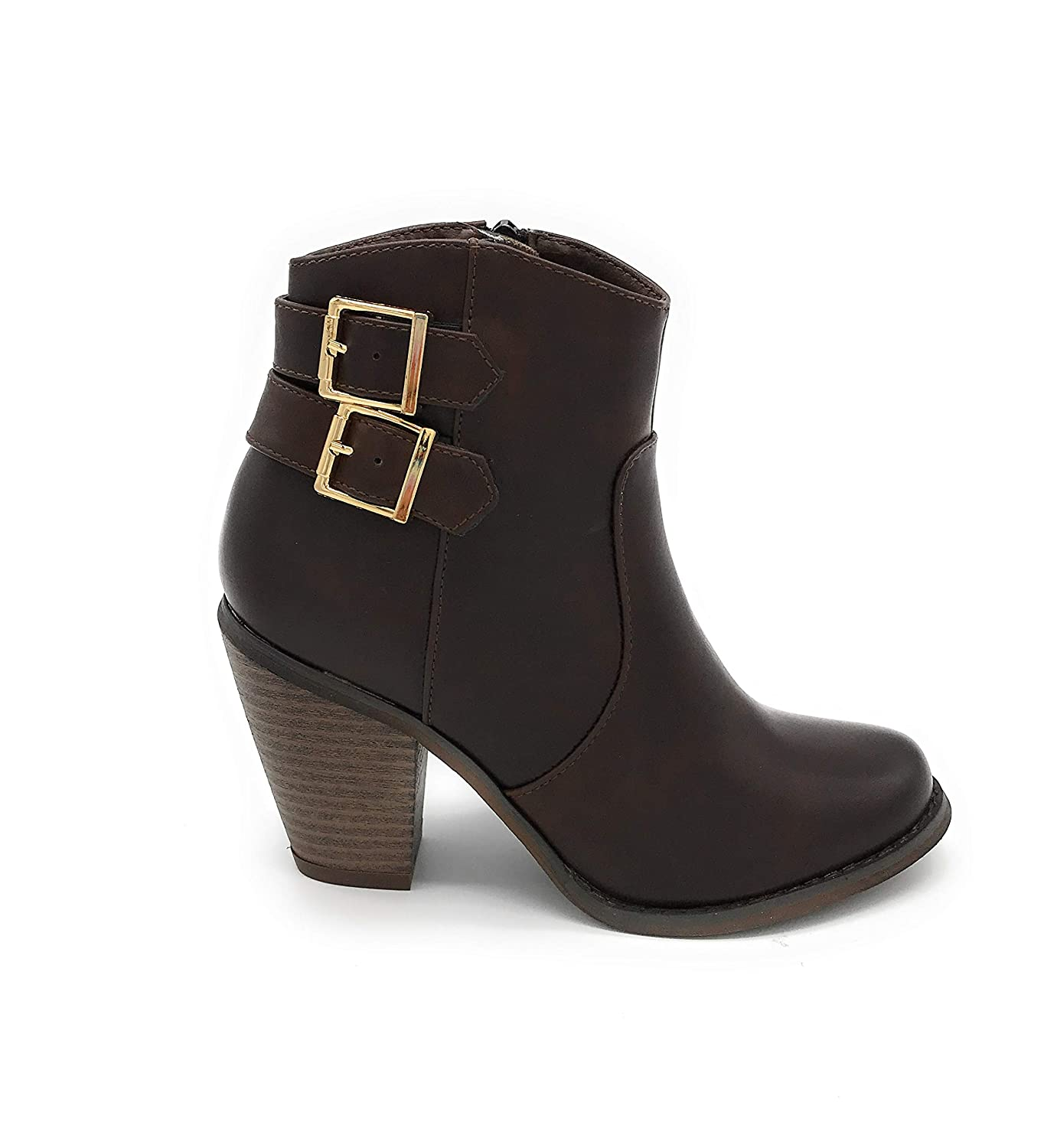 01brown bluee Berry EASY21 Women Fashion Ankle Boots Casual Short Bootie shoes