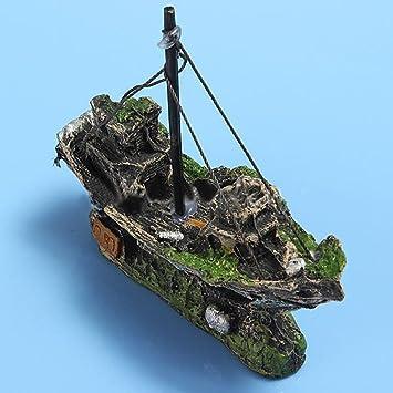 Acuario Acuático Fish Tank Planta Paisaje Resina naufragio barco ornamento Simulación no tóxica diseño único: Amazon.es: Productos para mascotas