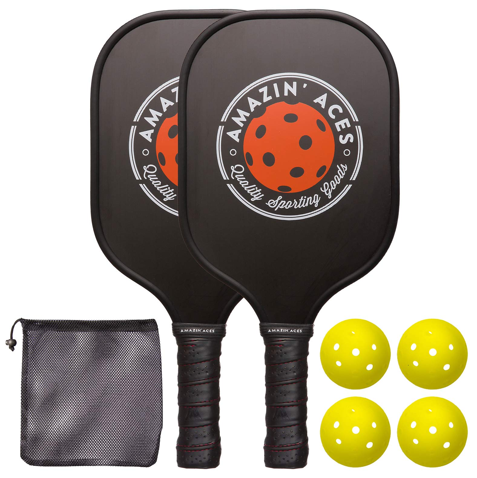 Amazin' Aces Pickleball Paddle Set | Pickleball Set Includes Two Graphite Pickleball Paddles + Four Balls + One Mesh Carry Bag | Premium Rackets Graphite Face & Polymer Honeycomb Core