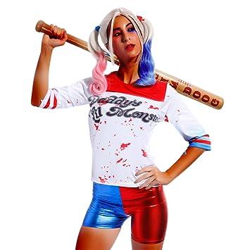 Disfraz de Mujer Chica Cosplay 3/4 Manga Camiseta de Harley Quinn Suicidio Squad Lil