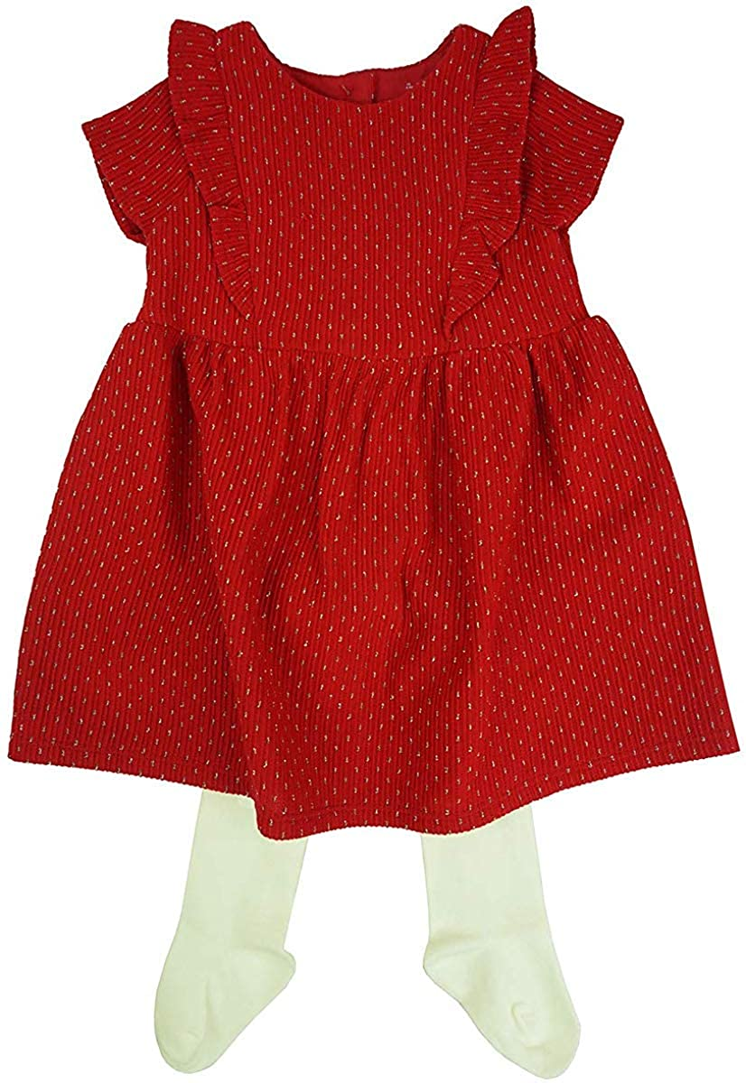 Get Wivvit B/éb/é Filles Rouge Volant Paillette Robe et Collants Ensemble Petit Prem Tailles de Nouveau-N/é pour 24 Mois