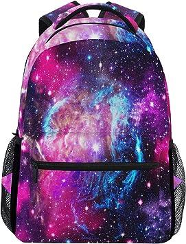 Blue Purple Galaxy Space Travel Laptop Backpack,Nebula Star School Laptop Bookbag for Women Men