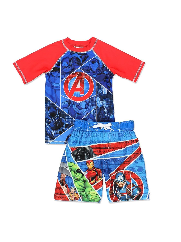 Avengers Superhero Boy's Swim Trunks and Rash Guard Set (Little Kid/Big Kid) Dreamwave