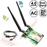 Ubit Wireless 72651200Mbps 802.11AC Desktop PCI-E WiFi Adapter PCI Express WLAN Netzwerkkarte für 7265AC + Bluetooth 4.0