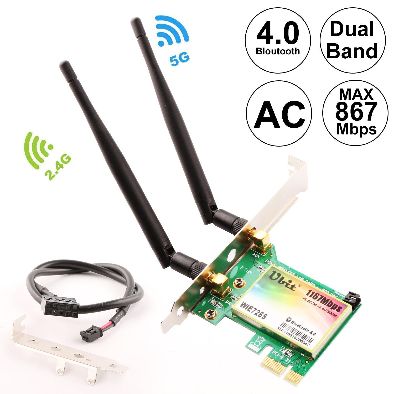 Ubit sans Fil 7265 1200 Mbps 802.11 AC Bureau PCI-E Adaptateur WiFi Carte ré seau WLAN PCI Express pour 7265 AC + Bluetooth 4.0 Ubit201805307265 AC7265