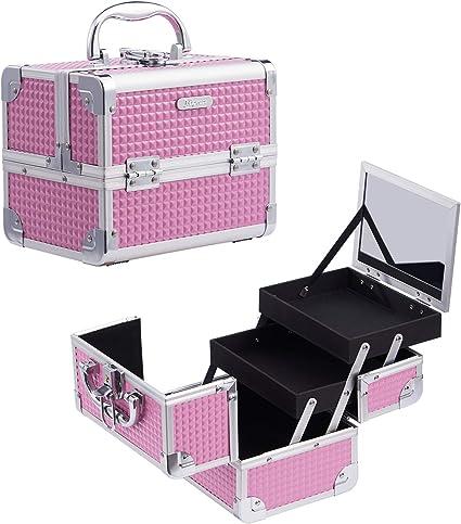 Maletín Maquillaje Rosa Estuche Maquillaje Caja Maquillaje Cosméticos Vacío Profesional con Espejo y Cerradura 19.5x15x16cm Regalos para Mujeres: Amazon.es: Belleza