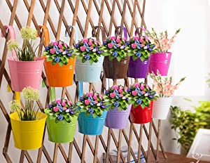 Hanging Flower Pots (10pcs), Balcony Garden Plant Planter Metal Iron Mini Flower Seedlings Brigade Fence Bucket Pots Hanger Planter for Home Decor