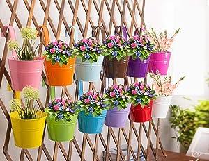 Hanging Flower Pots (10pcs), Balcony Garden Plant Planter Metal Iron Mini Flower Seedlings Brigade Fence Bucket Pots Hanger Planter for Home Decor