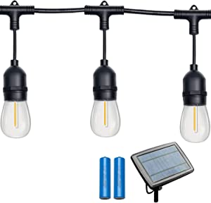 Gr8buy 48FT Solar Outdoor Patio String Lights 16pcs E26 Vintage Edison LED Bulbs, Waterproof Camper Cafe Lights Hanging RV Garden Backyard Festoon Christmas Decorative Gift, USB Charge(Warm White)