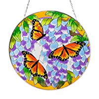Bits and Pieces Home and Garden Décor-Artistic Butterfly Suncatcher - Hand Painted Monarch Butterfly Makes a Stunning Window Display