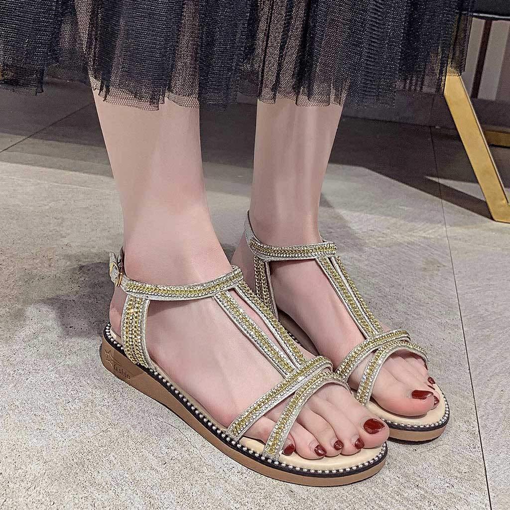 Mealeaf ❤️ Sandalias Planas de Verano para Mujer, con Diamantes ...