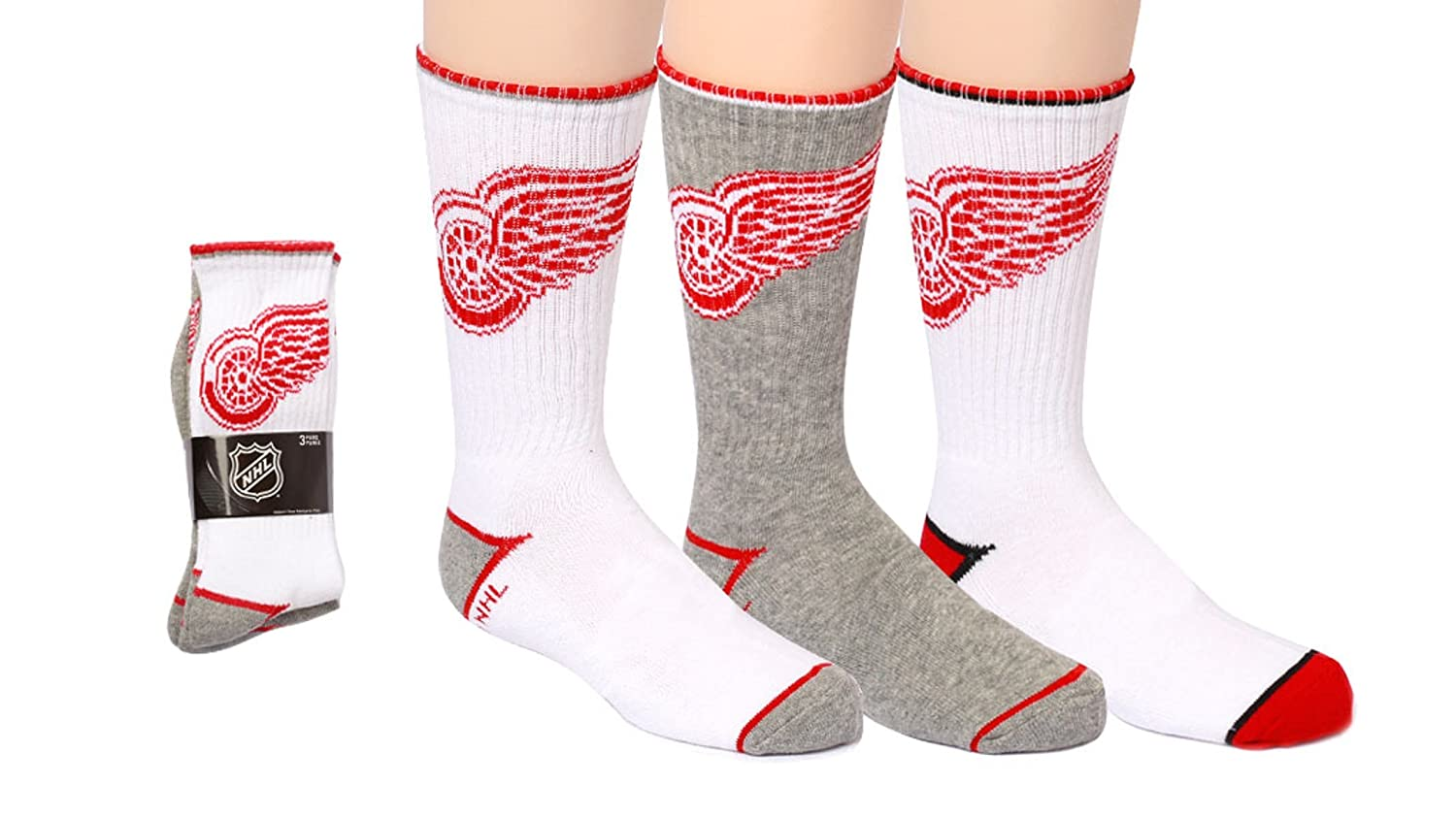 NHL Boys Detroit Red Wings 3-Pack Crew Socks (Shoe Size 3-6) SPORTICUS