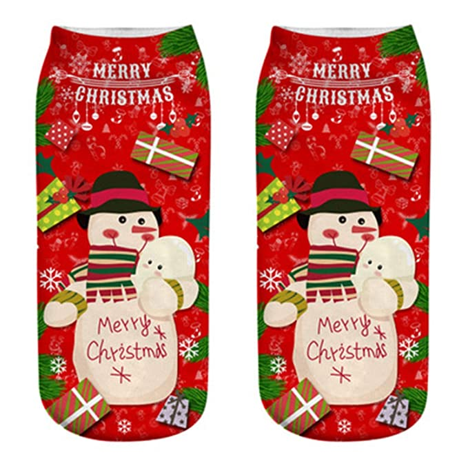 Christmas Socks Women 3D Socks 2019 New Year Gift Kawaii Calcetines Femme lady Cute Emoji Funny Sock Santa Claus Elk Snowman hot, 4, United States, ...