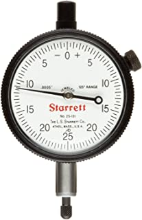 "product image for Starrett 25-131J Dial Indicator, 0.375"" Stem Dia., Lug-on-Center Back, White Dial, 0-25-0 Reading, 2.25"" Dial Dia., 0-0.125"" Range, 0.0005"" Graduation"