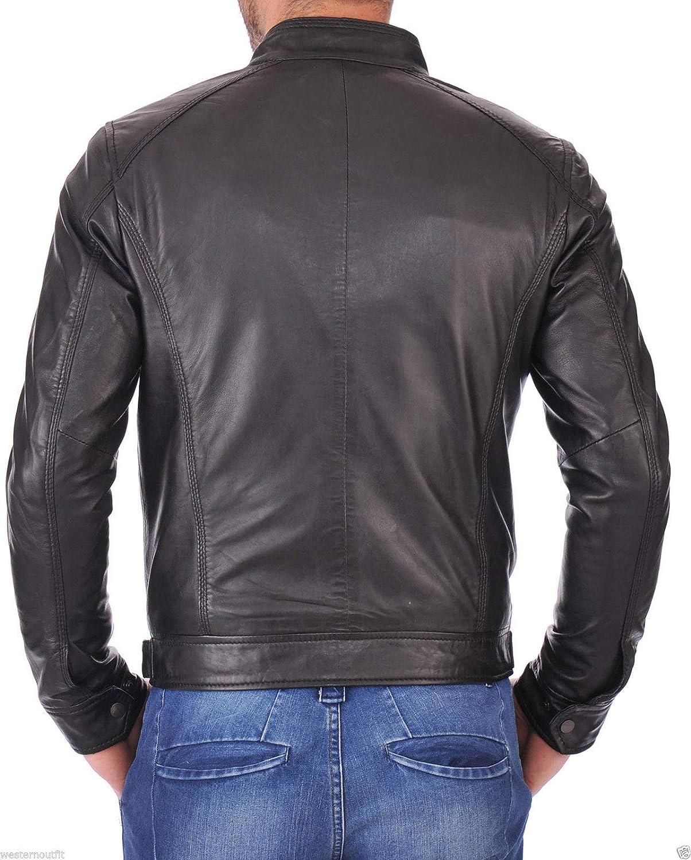 brandMe Mens Genuine Leather Pure Lambskin Biker Jacket MM148